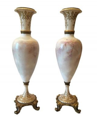 Monumental Antique Sevres Hand Painted Porcelain Gilt Bronze Vase 4