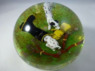 Jim Donofrio Dalmation Puppies Glass Paperweight