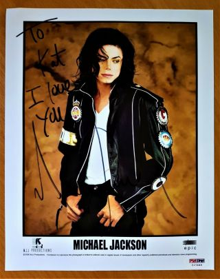 100 Michael Jackson Hand - Signed Promotional Photo Autograph Smile Lp