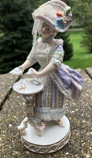 Meissen Antique Figurine Table Cards Porcelain Lace Purple Dress Rare