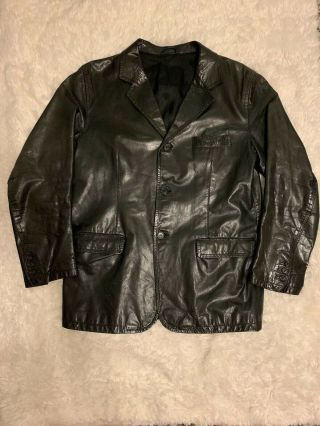 David Sylvian Vintage Black Prada Lambs Leather Jacket