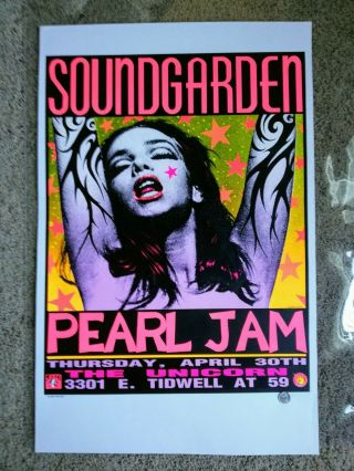 1992 Soundgarden / Pearl Jam Houston,  Tx Concert Poster - Kozik (pink Lady)