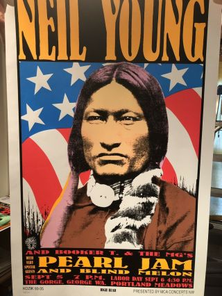 Frank Kozik - 1993 - Pearl Jam Neil Young Concert Poster S/N 1st Printing 4