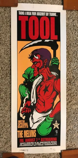 Tool 1998 Jermaine Rogers Signed & Numbered Concert Poster Rare 1st Ed Pearl Jam