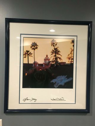 Hotel California Lithograph Hand Signed By Joe Walsh And Glenn Frey