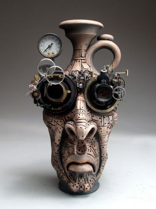 Mad Scientist Face Jug Pottery Folk Art Steampunk Sculpture By Mitchell Grafton