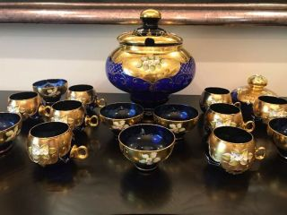 Punch Bowl Cobalt W 8 Glasses 6 Coffee Cups Blue 24k Glass Murano With Certif.