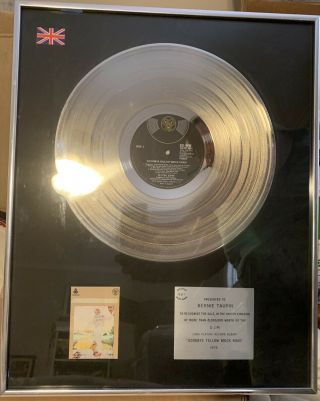 Goodbye Yellow Brick Road Platinum Record Award To Bernie Taupin