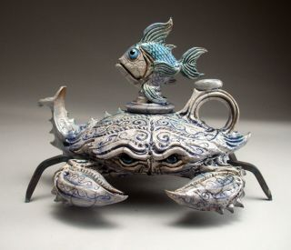 Blue Crab Teapot Pottery Sculpture Folk Art By Face Jug Maker Mitchell Grafton
