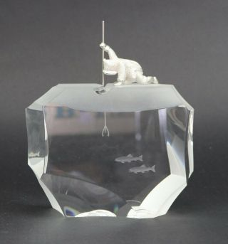 Steuben Arctic Fisherman Crystal & Sterling Silver Sculpture James Houston Rare
