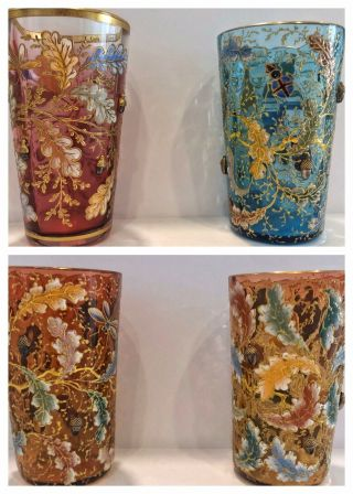 RARE Antique Multicolored Moser Gold Enameled Acorn Tumblers Signed 3