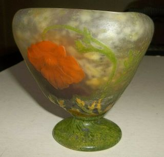 Unusual Vtg Daum Nancy Footed Art Glass Vase Bowl - Have To See -