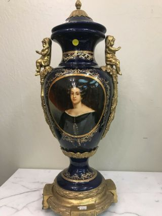 Cobalt Blue Porcelain Vase W/ 24k Bronze Accents,  Hand - Painted Scenery
