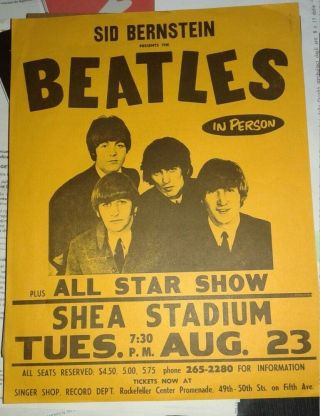 The Beatles Concert Flyer Aug 23 1966 Shea Stadium Rare 1966 Print Aor