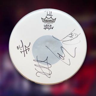 "Metallica Studio Autographed Drumhead - "" Hardwired.  To Self - Destruct """