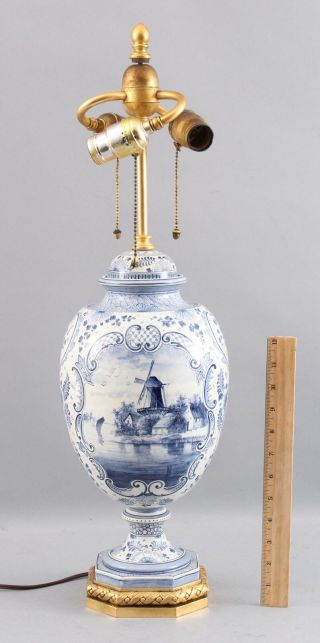 Large Antique Hand Painted Blue & White Delft Windmill Covered Urn Lamp