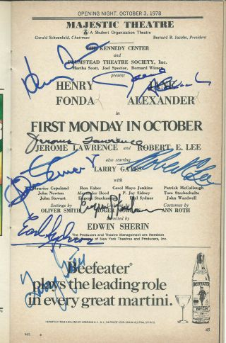 Henry Fonda Jane Alexander 6 Others 1978 Signed Playbill First Monday In October