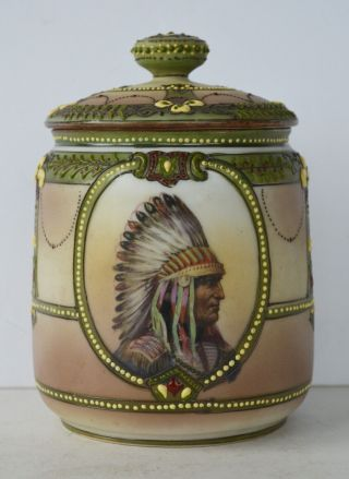 Nippon Moriage Beading Indian Chief Sitting Bull Humidor