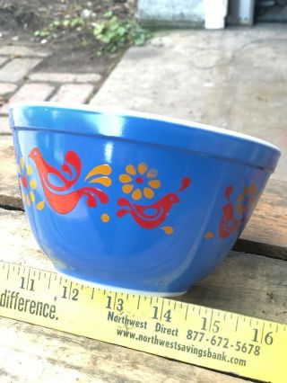 Rare Vintage Pyrex Friendship Mixing Bowl BLUE 401 1.  5 Pint Error Piece Promo 2
