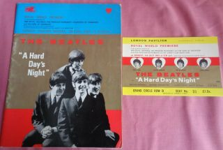 The Beatles A Hard Days Night Premier Programme & Ticket