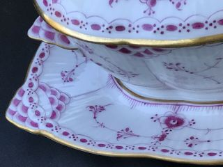 Royal Copenhagen Red Full Fluted Lace Gravy Boat Attached Plate,  Lid ca.  1890 WOW 10