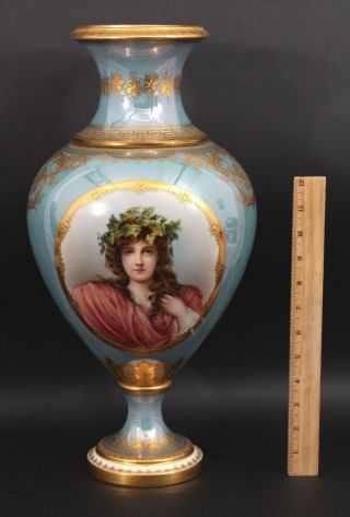 Large Antique 19thc Double Portrait Painting Gilt Royal Vienna Porcelain Vase Nr