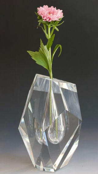 """Steuben Crystal Cut Vase.  6 1/2 """" Tall 1969 By Paul Schultz.  - Absolute"""