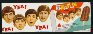 Beatles Rare 1965 Beatles Ice Cream Bar Promotional Flier Near