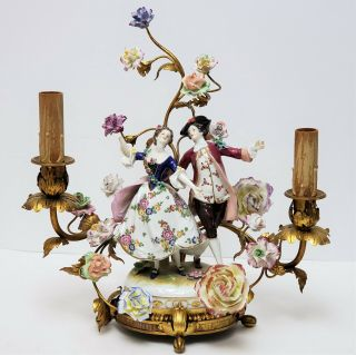 Antique Gilt Bronze Candelabra Lamp W Volkstedt Porcelain Figurine & Flowers