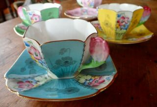 RARE SHELLEY QUEEN ANNE STYLE CUPS AND SAUCERS,  PATTERN 12121,  TULIP HANDLES 10