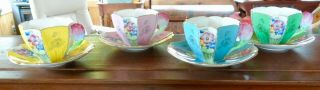 RARE SHELLEY QUEEN ANNE STYLE CUPS AND SAUCERS,  PATTERN 12121,  TULIP HANDLES 2