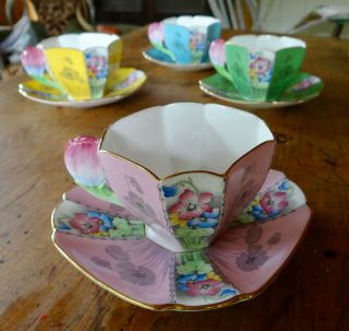 RARE SHELLEY QUEEN ANNE STYLE CUPS AND SAUCERS,  PATTERN 12121,  TULIP HANDLES 3