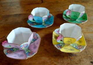 RARE SHELLEY QUEEN ANNE STYLE CUPS AND SAUCERS,  PATTERN 12121,  TULIP HANDLES 4