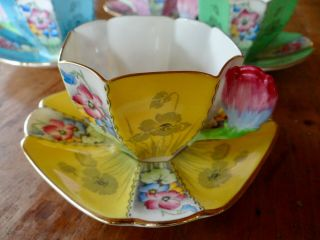 RARE SHELLEY QUEEN ANNE STYLE CUPS AND SAUCERS,  PATTERN 12121,  TULIP HANDLES 9