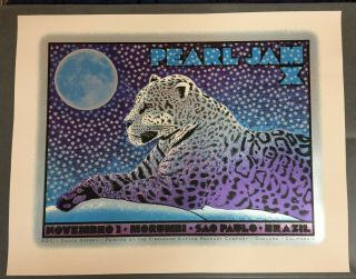 Pearl Jam.  Pearl Jam X Sao Palo Brazil Concert Poster.  2011 Chuck Speery.
