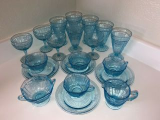 Rare Antique Etched Open Rose Mayfair Anchor Hocking Blue Glass Set