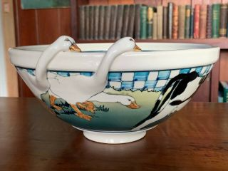 "Eileen Richardson Large 10 1/2 "" Double Goose Bowl - Santa Barbara 1982"
