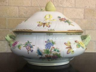Huge Vintage Soup Tureen Serving Dish 1003 Herend Queen Victoria China Vbo Lemon