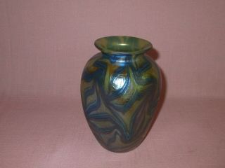 Antique Loetz Austria C 1901 Pinched Phanomen Blue Stretched King Tut Vase 5.  75 ""