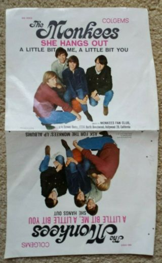 Monkees Ultra - Rare Sheet/sleeve For 3rd U.  S.  Unreleased Single