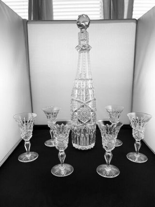 American Brilliant Abp Cut Glass Signed Libby Ellsmere Cordial Set