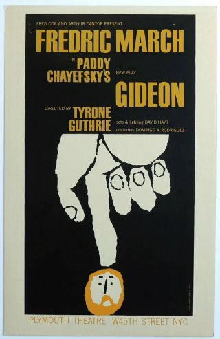 Triton Offers Orig 1961 Broadway Poster Gideon Paddy Chayefsky Frederic March