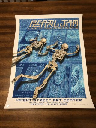 Pearl Jam Emek Live In Two Dimensions Haight Street Poster Print Signed Xx/115