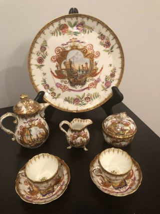 Rare Antique Meissen Porcelain Coffee Set With Charger Circa 1814