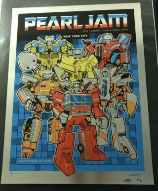 Pearl Jam Concert Poster - Nyc 9.  25.  15 - Chrome Heavy Metal - Ames 69/85