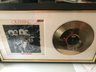 Queen - Framed,  Signed Disc And Cover,  Murcury,  May,  Taylor And Deacon.  With