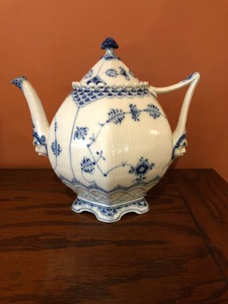 Royal Copenhagen Blue Fluted Full Lace Teapot 1119