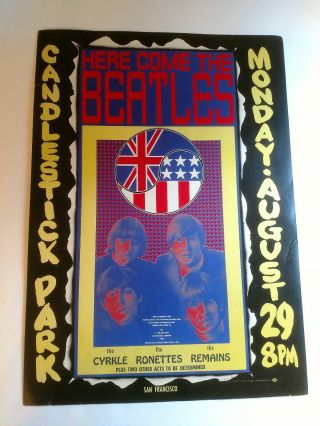 The Beatles Poster August 29,  1966 Candlestick Park,  San Francisco,  Ca