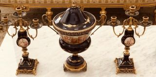 French Ormolu Urn Mounted Porcelain And Flanking Candelabras 22k Gold