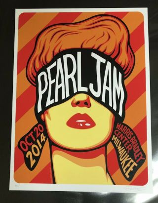 Pearl Jam Concert Poster - 10.  20.  14 - Milwaukee,  Wi - Signed/ 'd - 34/100 - B.  Frost